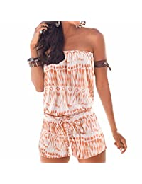 Summer Women Fashion Printed Strapless Jumpsuits Beach Boho One-Pieces S-Xl