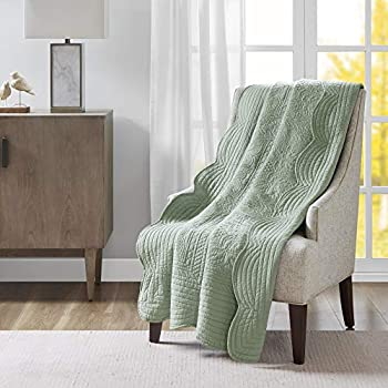Madison Park Tuscany Luxury Oversized Quilted Throw with Scalloped Edges Seafoam 60x72 Quilted Premium Soft Cozy Microfiber For Bed, Couch or Sofa