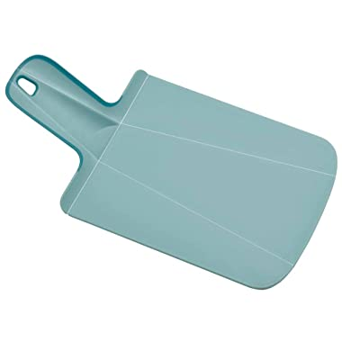 Joseph Joseph 60104 Chop2Pot Foldable Plastic Cutting Board 12.5-inch x 6.5-inch Chopping Board Kitchen Prep Mat with Non-Slip Feet 3.5-inch Handle Dishwasher Safe, Mini, Blue