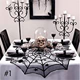 Fyore Halloween Decoration Black Lace Table Topper Cloth Round Spider Web Table Topper Cover for Dinner Party Room Scary Movie Nights(40Inch)