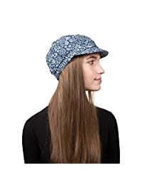 Landana Headscarves Denim Jeans Ladies Spring Summer Cap with Paisley Floral Pattern