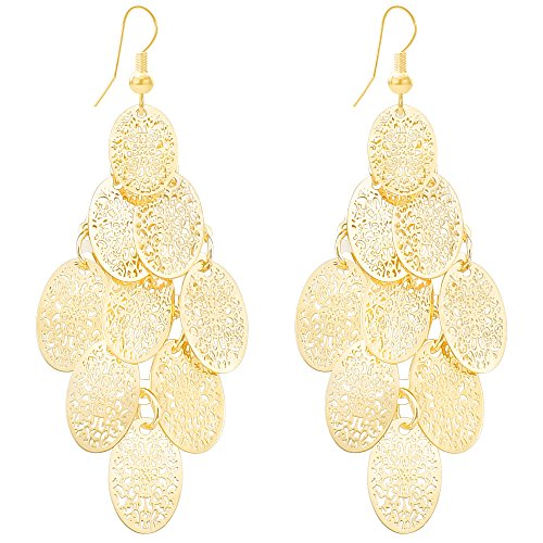 Lightweight Hollowed-out Filigree Layered Oval Earrings Golden Chandelier Dangle Drop Earrings for Women ()