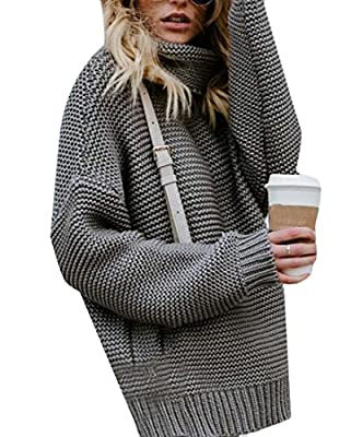 Jofemuho Women's Fall Winter Long Sleeve Turtle Neck Solid Knit Pullover Thermal Sweaters
