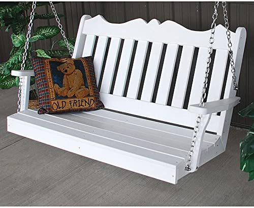 A L Furniture Co. Royal English Recycled Plastic Porch Swing 5 Foot, Bright White