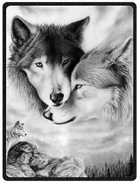 Coton m/élang/é 125 x 150 cm Yisumei Couverture polaire douce Loup noir et blanc pour lit ou canap/é Couleur 1