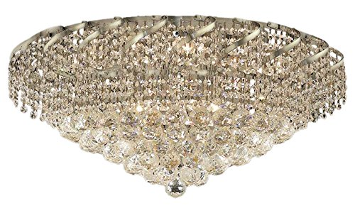 Elegant Lighting ECA1F26C/RC Royal Cut Clear Crystal Belenus 10-Light, Single-Tier Flush Mount Crystal Chandelier, Finished In Chrome with Clear Crystals