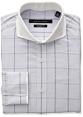 Sean John Men's Tailored Fit Large Plaid Cutaway Collar Dress Shirt