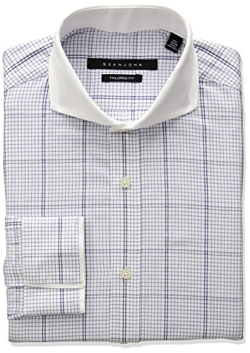 Sean John Tailored Dress Shirt (Sean John Men's Tailored Fit Large Plaid Cutaway Collar Dress Shirt, Tiger Lily, 16