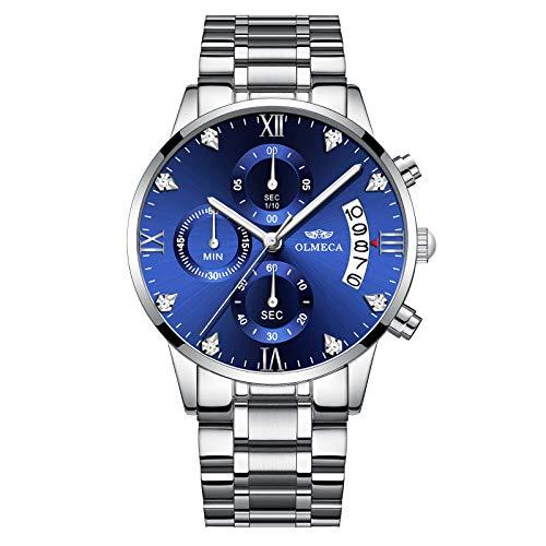 OLMECA Men's Watches Luxury Wristwatches Rhinestone Watches Waterproof Fashion Quartz Watches Women Watch Stainless Steel Watch ()