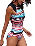 SEBOWEL Women Sleeveless Striped Print Zip Front Rash Guard One Piece Swimsuit Athletic Swimwear, Coral, Medium