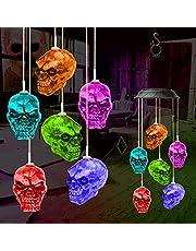 icyant Zonneskelet schedel windklokkenlicht, 6 LED skelet schedel windklokkenspel realistische schedels decoraties voor indoor outdoor party binnenplaats Kerstmis Halloween tuin nachtclub winkel bar thuis