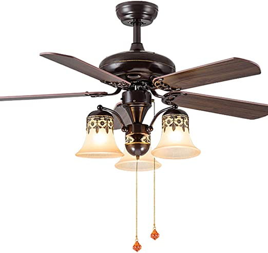 Iluminación Decorativa y para usos específicos Restaurante salón lámpara de Techo Dormitorio con luz de Ventilador de Hoja de Madera Retro LED Pasillo lámpara de Techo con Ventilador Ventilador de te: Amazon.es: