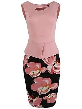 Gladiolus Vestido Estampado Mujer Vestidos De Fiesta De Cóctel De Noche para Mujer - Pink -