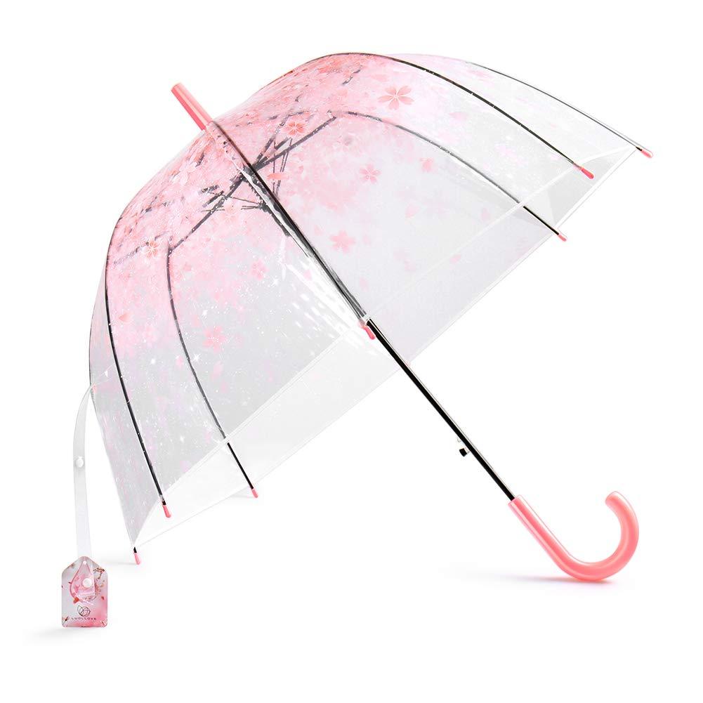 Paraguas Transparente Niña,LUOLLOVE Rosa Paraguas de Lluvia a Prueba de Viento,Paraguas Burbuja Forma de Cúpula Apertura Automática