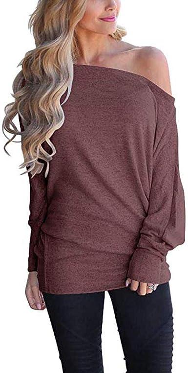 JiaMeng Moda Casual para Mujer Sexy con Cuello Fuera del Hombro Suéter Suelto Jersey de Manga murciélago Jersey de Punto Blusa Superior