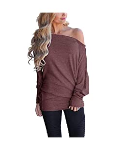EKIMI Tops Women Off Shoulder Loose Pullover Sweater Batwing Sleeve Knit Jumper Top Blouse Red