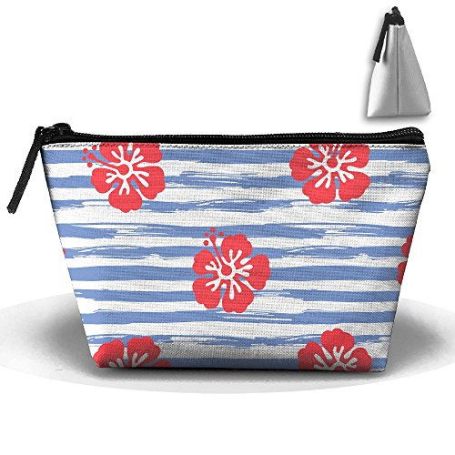 VIMUCIS Portable Printed Trapezoid Zippered Bag Flower And Stripe Toiletry - Shopping Thorne Bella