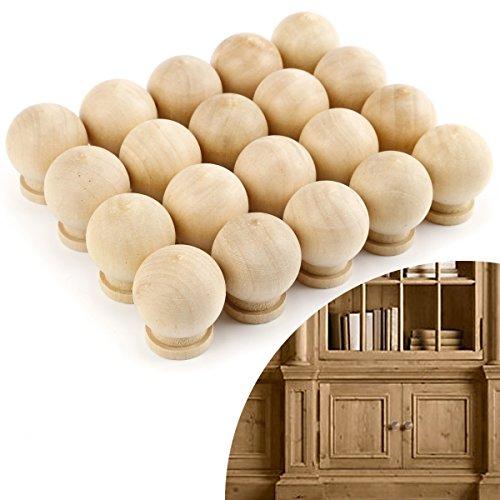 Antique Wooden Knobs - Anladia 20x Round Natural Pine Hight Wooden Drawer Knob w/ Inserts Bolt Door Handle Round Natural Brown