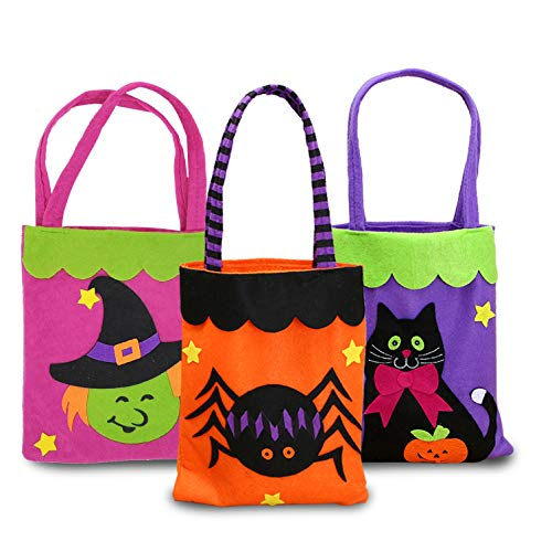 VFun Halloween Candy Felt Bags(3pcs) Trick or Treat Candy Tote Bags for kids Halloween Themed Party Favors