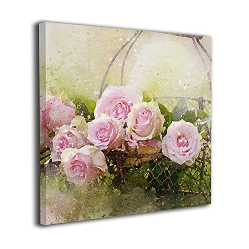 (Fu Qi Rui Shang Mao Canvas Wall Art Prints Bouquet of Beautiful Pink Rose Flowers with Petals Picture Paintings Contemporary Home Decoration Giclee Artwork Wood Frame Gallery Stretched 20
