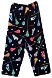 Made with Love and Kisses Boy's Fuzzy Plush Pajama/Loungewear Pants - Black Lacrosse - 6/6x