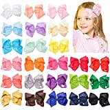 Prohouse Baby Girls Ribbon Hair Bow Clips Barrettes For Girl Teens Kids Babies Toddlers (24PCS-6inches Big Bow Clips)