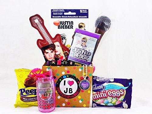 Justin Bieber Easter 'Egg-citement' Candy Gift Basket for Tween / Teen - Justin Nerd Bieber