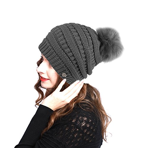 BN2270 Women's Premium Winter Slouch Cable Knitted Pom Pom Beanie Hat (GRAY) (Knit Needle 13inch Set)