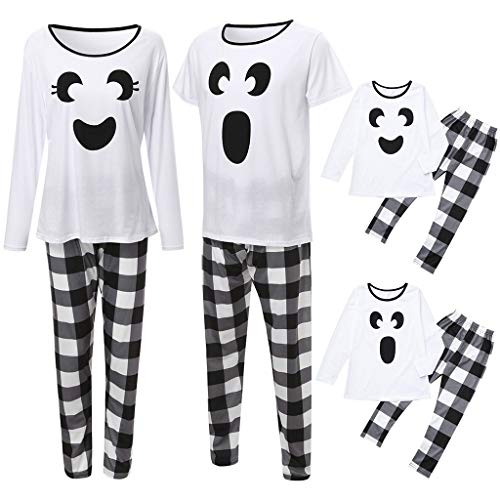 Mayunn Halloween Parent-Child Long Sleeve Cartoon Printed Tops+Plaid Pants Set Family Clothes Pajamas Set
