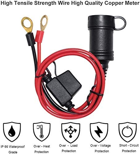 [2 PACK] 3FT 12V Female Cigarette Lighter Socket Battery Eyelet Ring Terminal 12volt Extension Cord Outlet Adapter Plug Power Supply Car Electrical Dc Cigarettes Charger Accessory Connector Kit 10Fuse