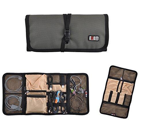 Roll Up Electronics Accessories Travel Gear Organizer Case,Gadget Carrying Case Storage Bag Pouch for Charger USB Cables SD Memory Cards Earphone Flash Hard Drive