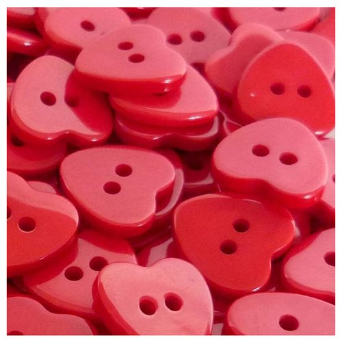 TOOGOO(R) 200pcs Bulk Plastic Heart Button Lots 11mm Sewing Craft Cards DIY color: Red