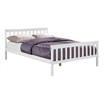 Unmatchable Wooden Bed Frame White Double King Single Size Solid ...