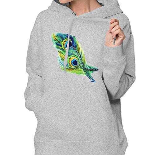 RS-pthrAA Women's Pullover Hoodie Peacock Feathers Long-Sleeved with Pocket Gray -