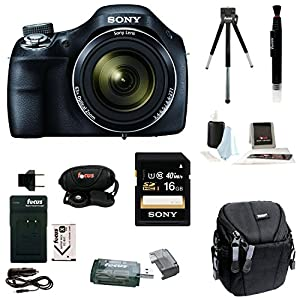 Sony Cyber-shot DSC-H400/B DSCH400 H400 Digital Camera + Sony 32GB SDHC Memory Card + Small Gadget Camera Bag + Focus Rechargeable Lithium-Ion Battery Pack for Sony NP-BX1 with Focus QC-105 Battery Charger + Focus Universal Card Reader + Focus Professiona
