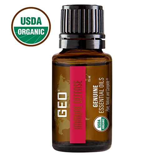 IMMUNE DEFENSE Organic Essential Oil, Helps Cold and Flu Symptoms, 1 bottle, 15 ml. USDA Organic. Certified by CCOF. Sold by GEO Essential Oils