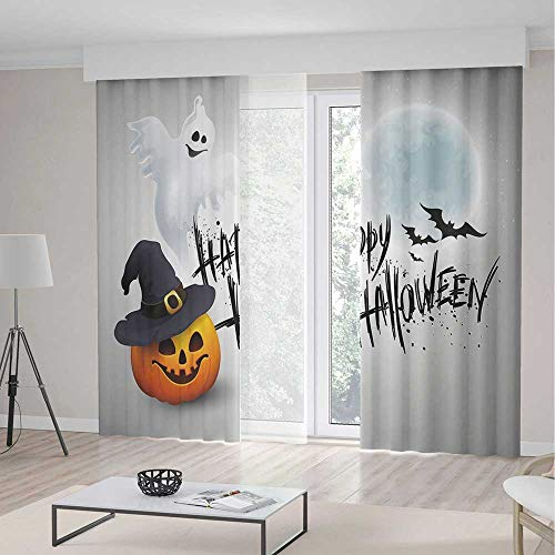 TecBillion Bedroom Curtains Blackout,Halloween for Living Room,Happy Celebration Typography Stained Look Cute Ghost Pumpkin Hat Print Decorative,141Wx94L Inches]()