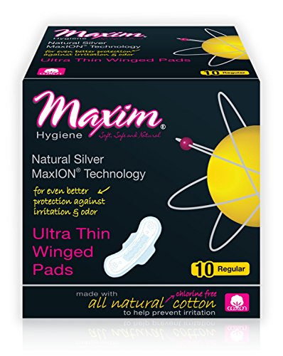 Maxim Hygiene Products Maxion Natural Ultra Thin Winged Pad, Regular, 10 (Winged Pads)