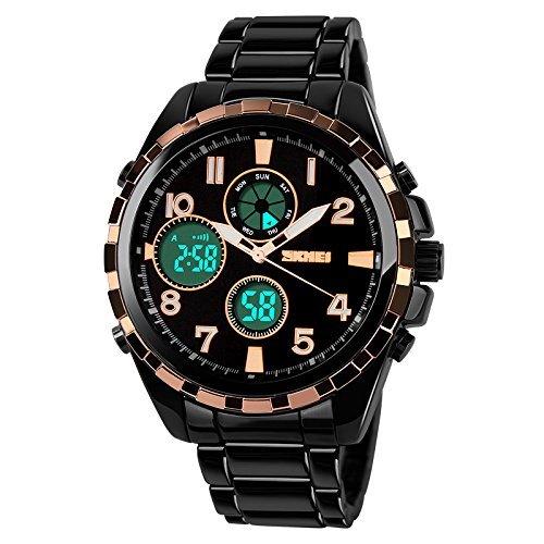 Skmei Ad1021 - Reloj analógico con cronógrafo formal para hombre, esfera digital y dorada: Amazon.es: Relojes