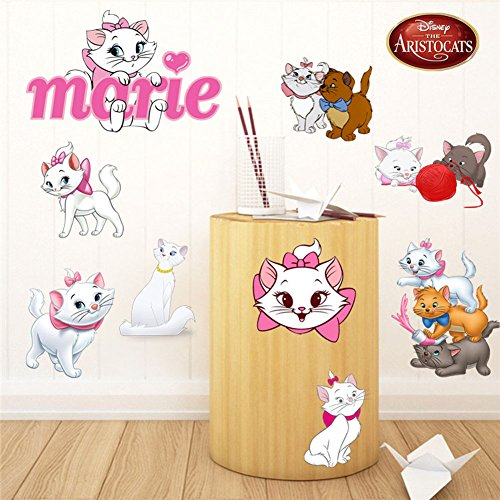 Fangeplus(TM) DIY Removable The Aristocats Marie Cartoon White Cat Art Mural Vinyl Waterproof Wall Stickers Kids Room Decor Nursery Decal Sticker Wallpaper23.6''x17.7''