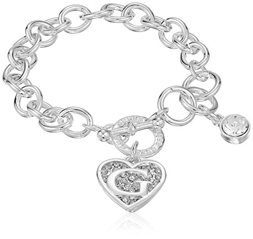 9f2df14f4e66f GUESS Toggle Chain Bracelet with Logo Heart Link Charm Bracelet