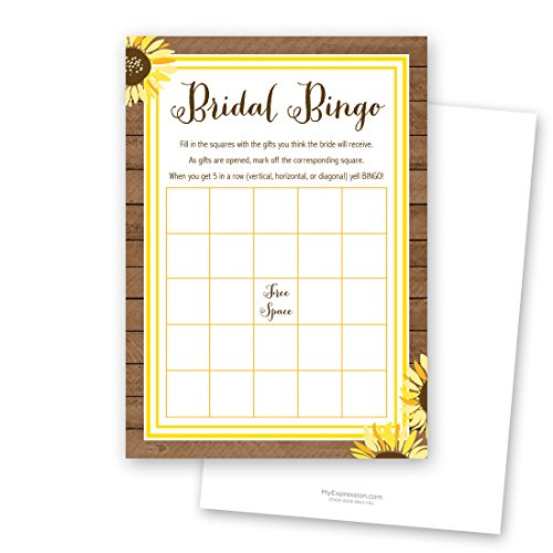 24 Sunflower Bridal Bingo Cards
