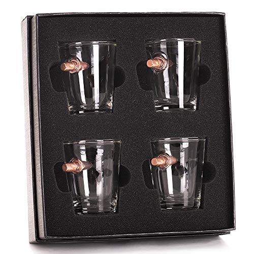 .308 Real Bullet Handblown Shot Glass Gift Set - Set of 4 by Lucky Shot