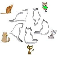 WIN 5pcs Cute Cat Shape Cookie Cutter Stainless Steel Fondant Cutter Cake Decoration Tool Set