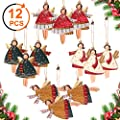 Y- STOP Christmas Decorations Ornaments,12 Pcs Dancing Angels Tin Christmas Tree Ornaments,Hanging Angels Decor for Home,Party,with Gift Box