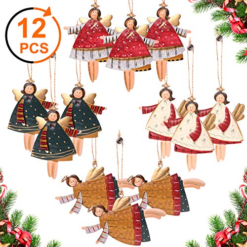 Y- STOP Lot of 12 PCS Dancing Angels Tin Christmas Tree Ornaments, Hanging Ornaments Christmas Decorations for Home,Hotel,Party