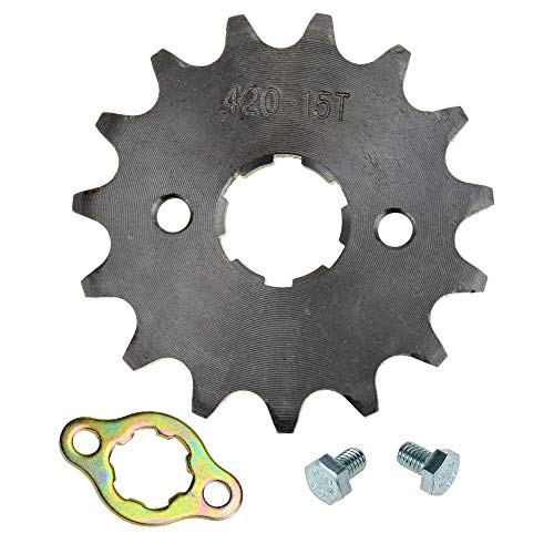 (HIAORS 420 15T 20mm Motorcycle Front Engine Sprocket for 50cc 70cc 110cc 125cc 140cc 160cc Honda TaoTao Roketa Coolster Sunl Lifan Chinese ATV Quad Dirt Bike)
