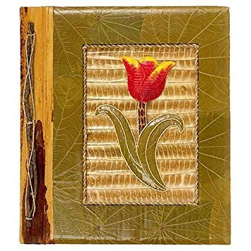 All Natural 80 Photo Handmade Photo Album- Red Tulip Design