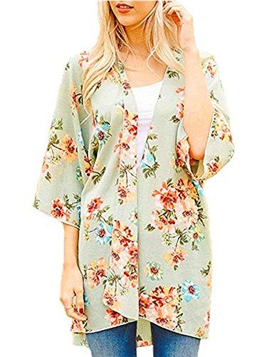 Womens Floral Kimono Cardigans Sheer Print Chiffon Loose Cover ups (LightGreen,M