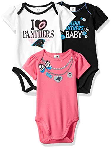 NFL Carolina Panthers Girls Short Sleeve Bodysuit (3 Pack), 6-12 Months, Pink (Art Panthers Body)